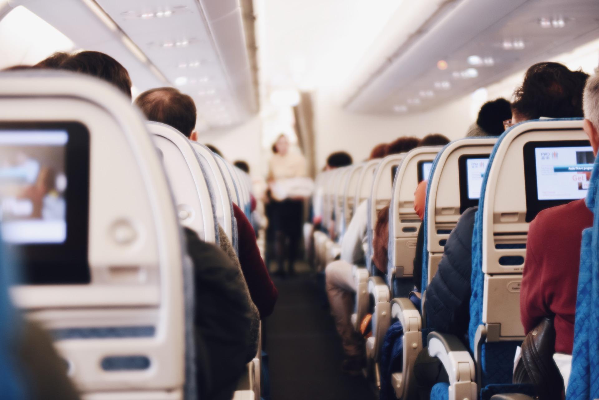 View of a plane aisle