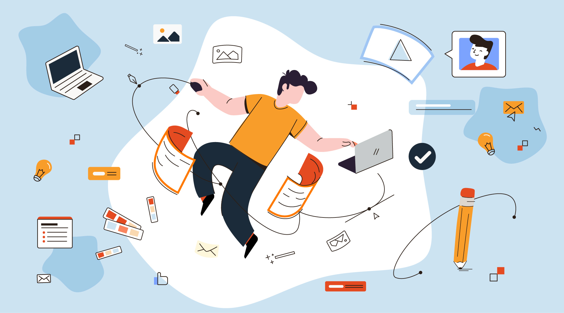 A digital creative person floating in the air surrounded by their tools